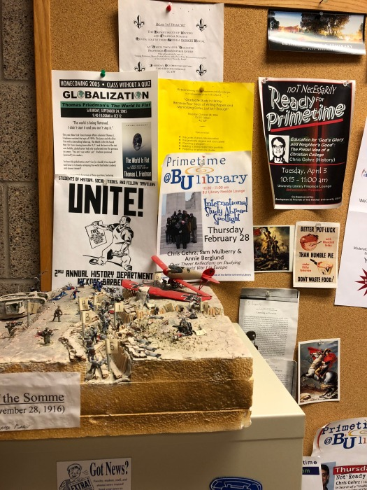 WWI battlefield model, plus posters and postcards